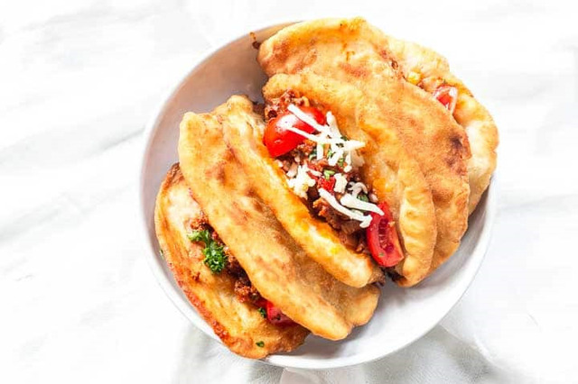 Mexican chalupas with beef