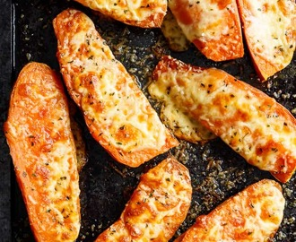 Cheesy Garlic Sweet Potatoes