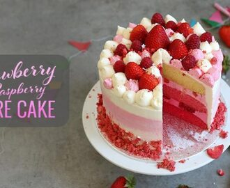 Strawberry Raspberry Ombré Cake