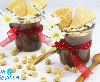 Natillas de chocolate y avellanas Thermomix