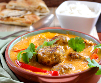 Autumn Irish Lamb meatballs with Red Coconut Curry