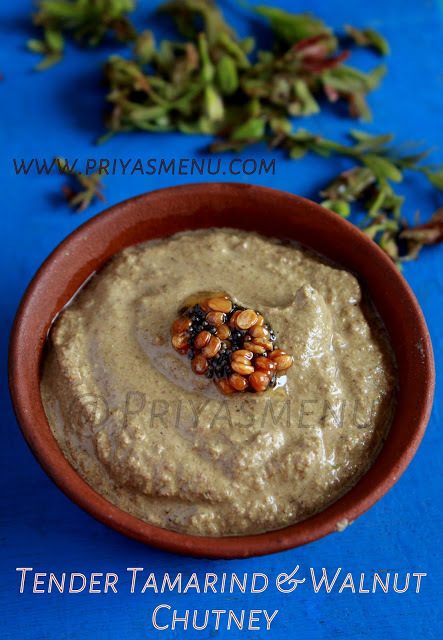 Tender Tamarind Leaves & Walnut Chutney / Chutney Recipe - 89 / #100chutneys