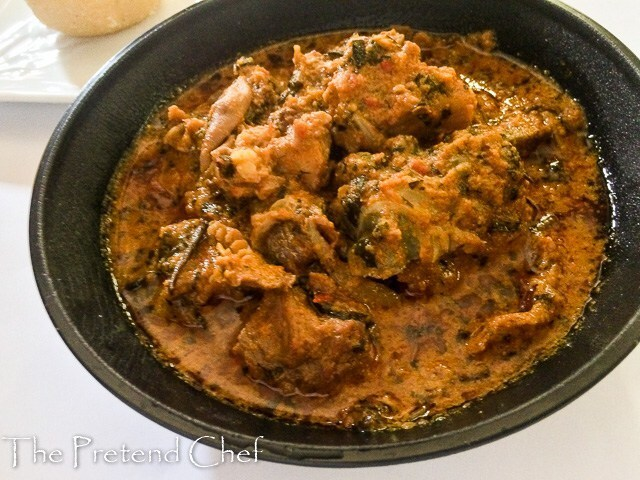 Egusi soup with tomato sauce