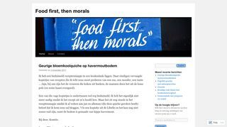 Food first, then morals