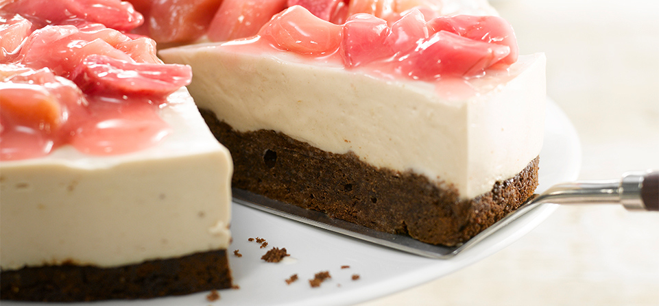 Brownie & rabarber-cheesecake