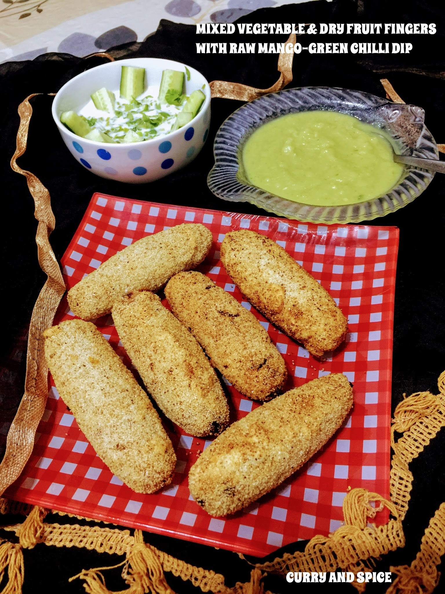 MIXED VEGETABLE & DRY FRUIT FINGERS WITH RAW MANGO- GREEN CHILLI DIP