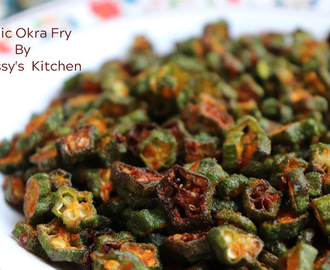Garlic Bhendi Fry/ Garlic Okra Fry/ Lahsuni Bhindi / Lady's Finger Fry Flavored with Garlic
