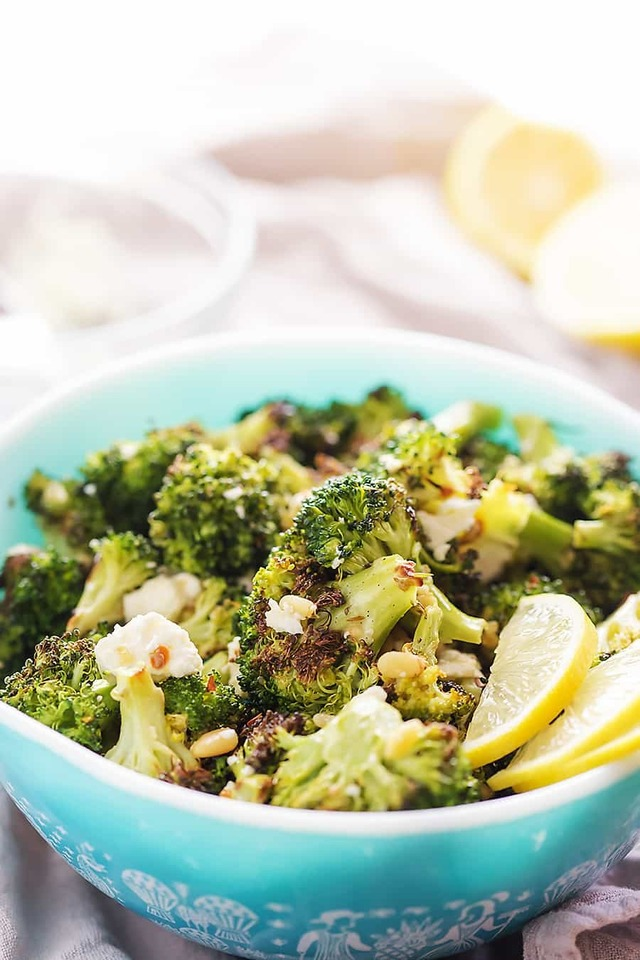Charred Broccoli Salad with Pine Nuts and Feta