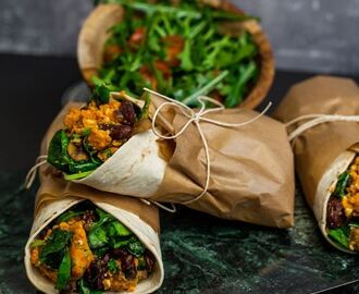 Sweet-potato wrap with feta cheese and spicy beans