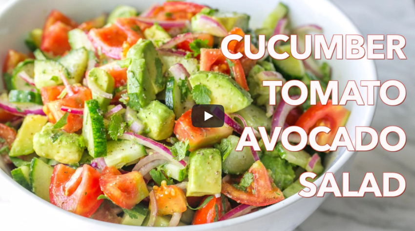 Cucumber Tomato Avocado Salad Recipe Video