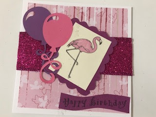 Pink Flamingo and Balloons birthday card