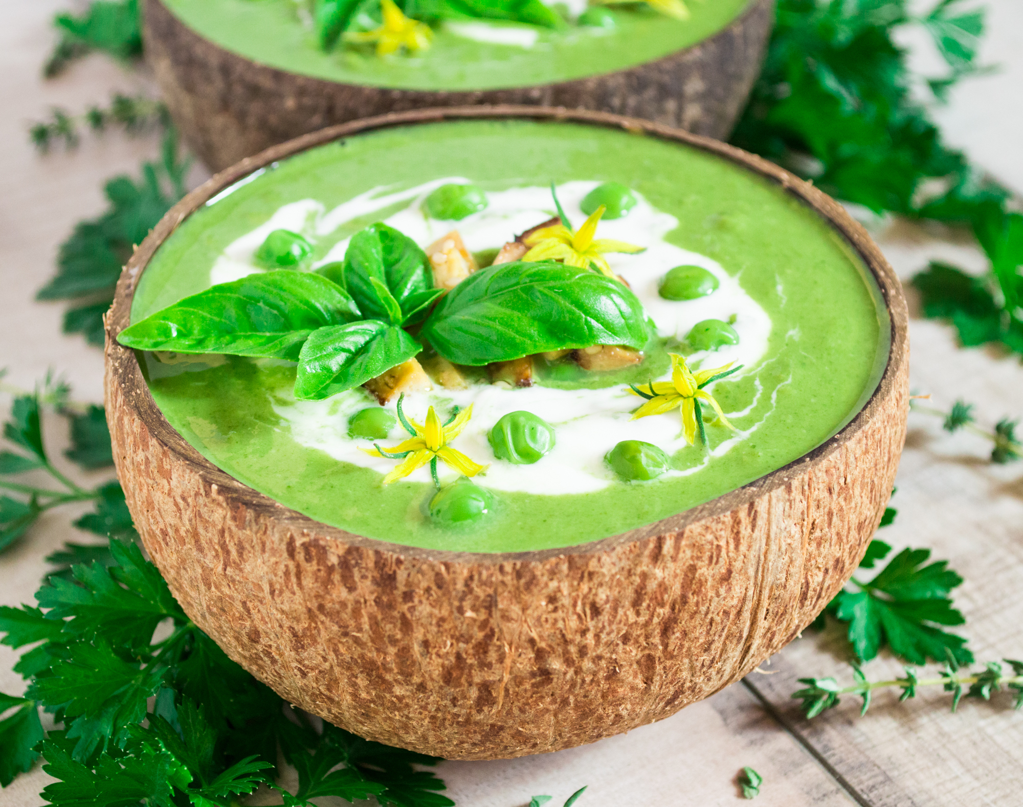 Spinach, green pea and coconut cream soup