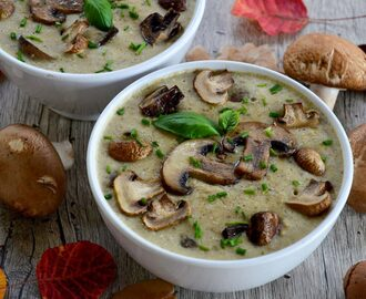 Mushroom and chickpea soup with cashew cream