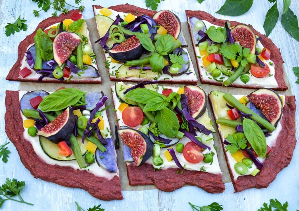 Pizza with beet crust and cashew spread