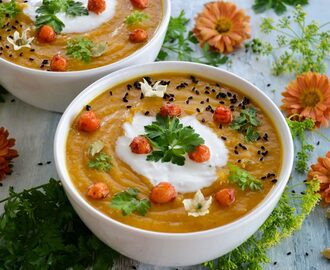Sweet potato and chickpea soup with coconut cream