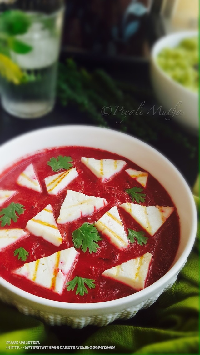 Beetroot Paneer Curry Recipe / Lightly Grilled Cottage Cheese In Creamy Beetroot Curry