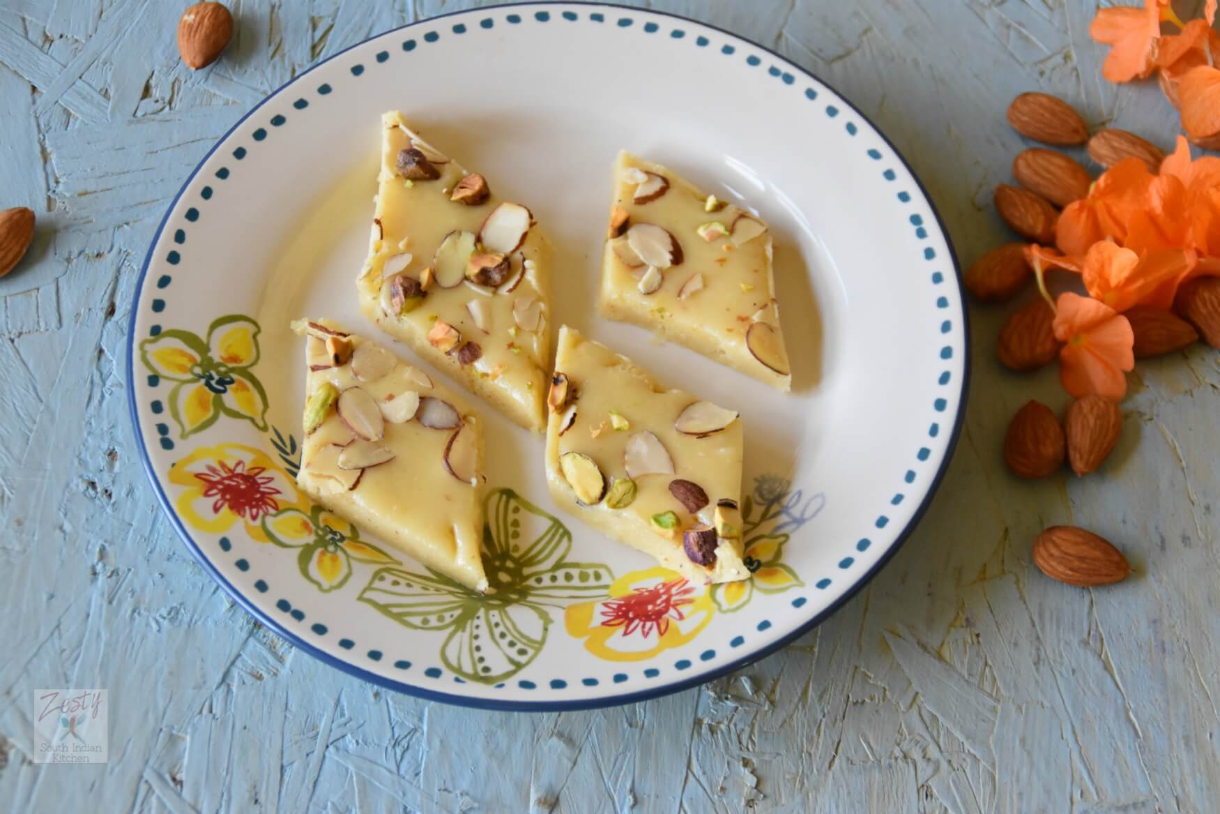 Khoya Badam Burfi:    Dried Milk and Almond Fudge