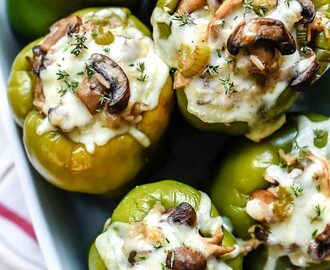 Creamy Chicken and Mushroom Stuffed Bell Peppers | foodiecrush.com
