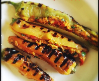 Char Grilled Banana Chillies Stuffed with Tomatoes and Spices | Bharwan Mirch