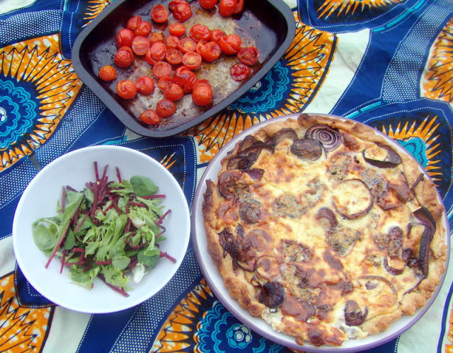 Caramelised Red Onion, Cream and Stilton Quiche