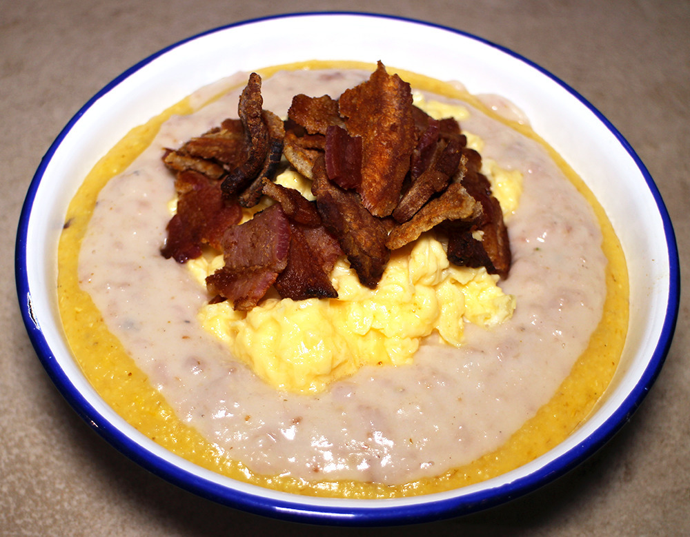 Crispy Bacon and Scrambled Egg on Polenta with Sausage Gravy