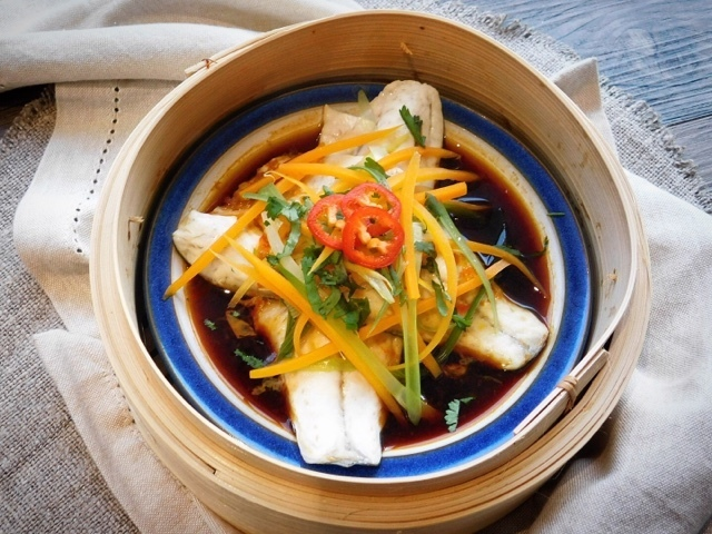Steamed Sea Bass Fillets with Soy, Chilli and Garlic