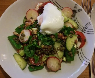 Puy lentil, lardon and poached egg salad