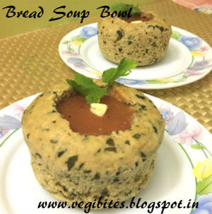 Garlic Fenugreek Leaves Bread Bowl with Carrot and Tomato Soup