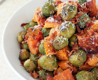 Roasted Sweet Potatoes, Brussels Sprouts & Bacon