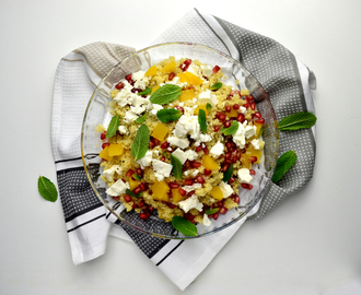 Pomegranate, Orange, Feta and Mint Cous Cous Salad
