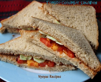 Easy Tomato Cucumber Sandwich -  No Cook Sandwich Recipe