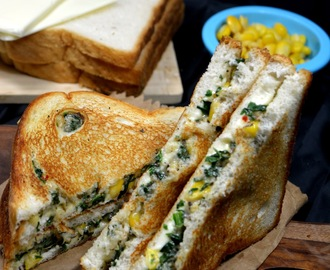Grilled Cheese Spinach Corn Sandwich