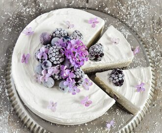 Coconut, vanilla and berry vegan cheesecake