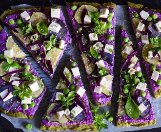 Quinoa and broccoli pizza crust with red cabbage spread