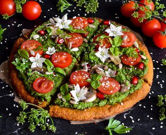 Sweet potato pizza crust with green pesto