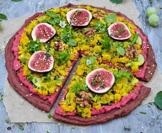 Pizza with quinoa and beet crust and chickpea flour scramble