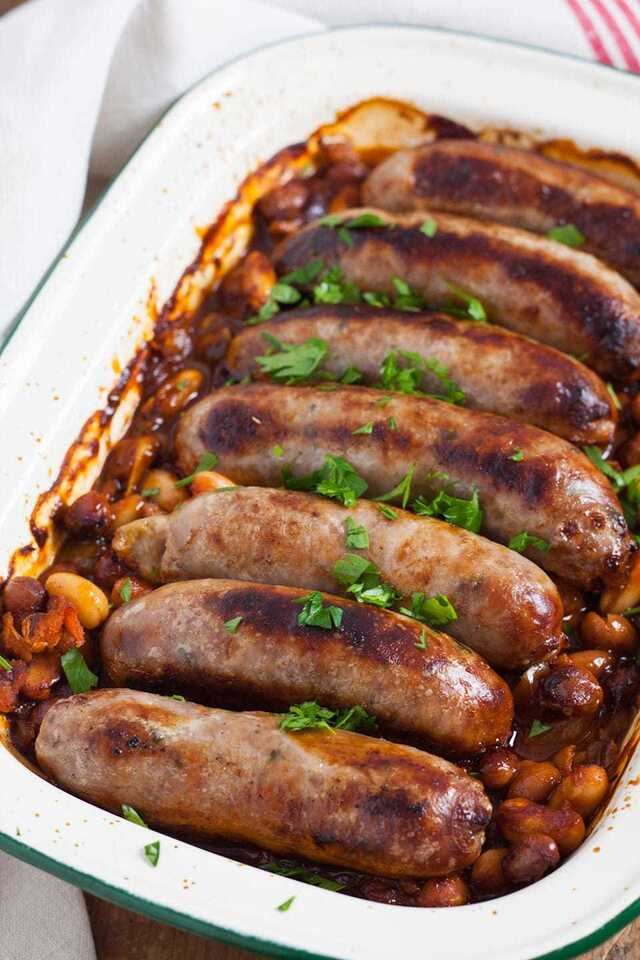 Sausages with Easy Homemade Baked Beans