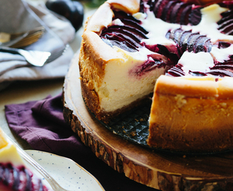 Ricotta Cheesecake with Plums