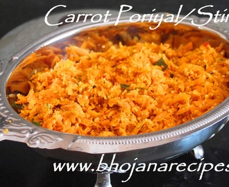 Carrot Poriyal / Carrot Stir Fry