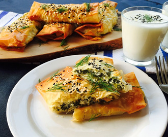 Feta and ricotta cheese with spinach and dill filo wraps