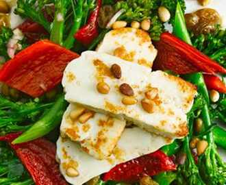 Broccoli salad with peppers, pine nuts and halloumi recipe - olive magazine