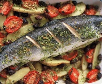 Mediterranean fish with olives and tomatoes recipe