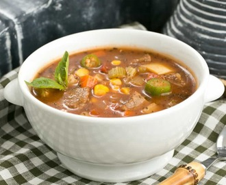 Vegetable Beef Soup with Roasted Garlic #SundaySupper