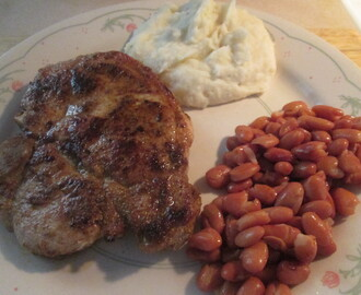 Cumin Spiced Pork Chop w/ Mashed Potatoes and Seasoned Pinto Beans