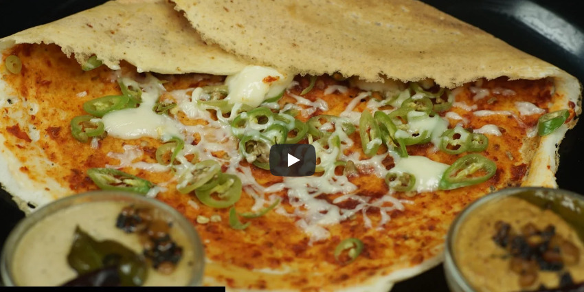 Schezwan Chilli Cheese Dosa Recipe Video