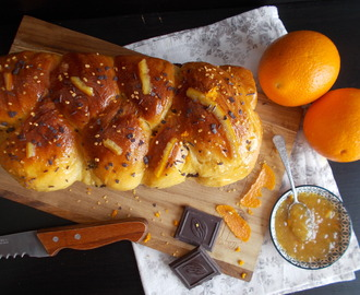 Brioche au chocolat et orange confite