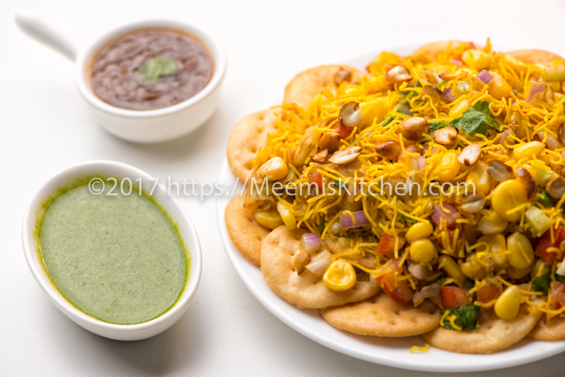 Corn Chaat, Corn Sev Puri, Masala Corn Chaat - MeemisKitchen