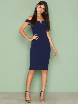 Ax Paris Bardot Midi Dress Fodralklänningar Navy