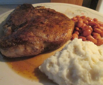 Cumin Spiced Pork Chop w/ Seasoned Pinto Beans and Mashed Potatoes