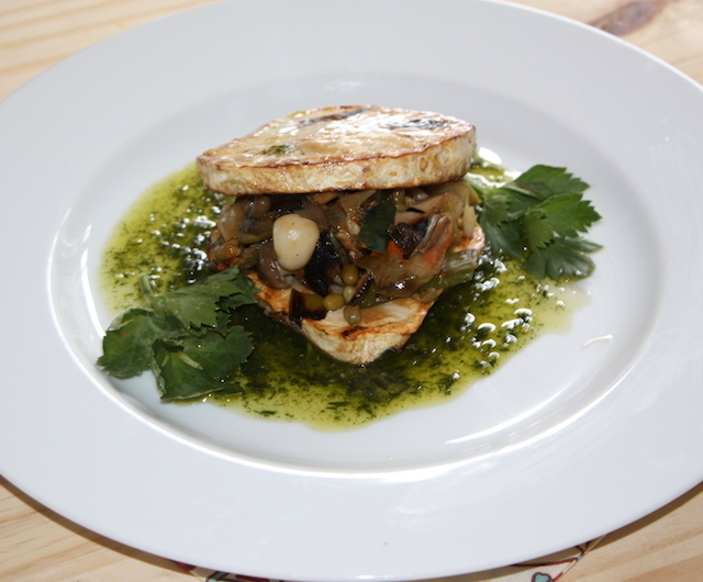 Roasted celeriac with mung beans forestière fricassée and tarragon oil